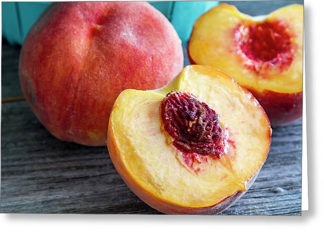 Fresh Peaches Greeting Card by Teri Virbickis