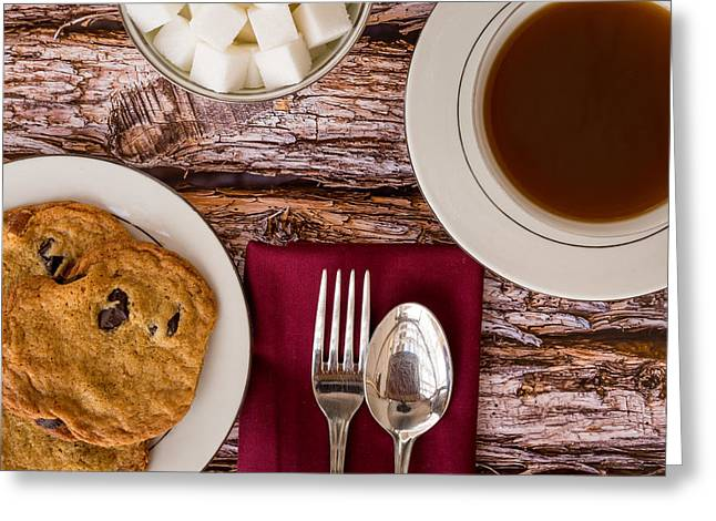 Freshly Baked Chocolate Chip Cookies And Coffee #1 Greeting Card by Jon Manjeot