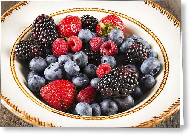 Freshly Picked Mixed Berries Greeting Card by Donald  Erickson