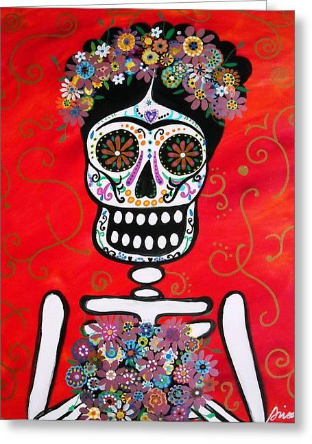 Greeting Card featuring the painting Frida Dia De Los Muertos by Pristine Cartera Turkus