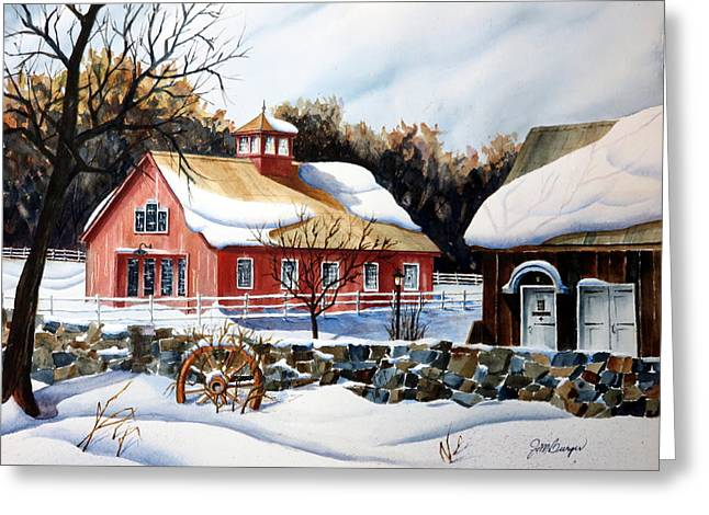 From The Green In Winter Greeting Card by Joseph Burger
