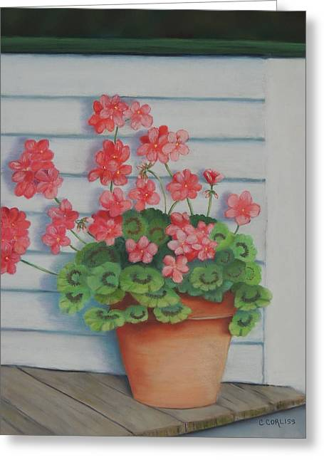 Front Porch Geraniums Greeting Card