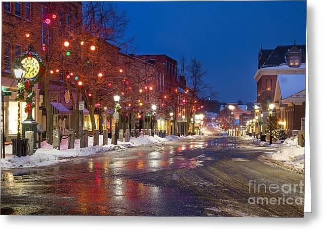 Front Street Holiday Lights Greeting Card by Benjamin Williamson