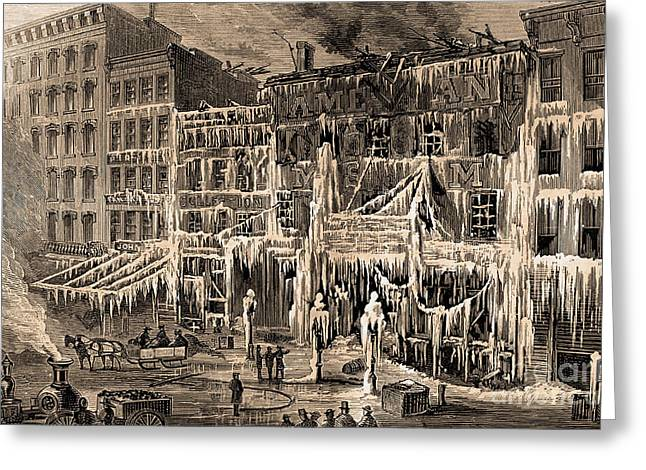 Frozen Remains Of Barnums Museum, 1868 Greeting Card by Science Source