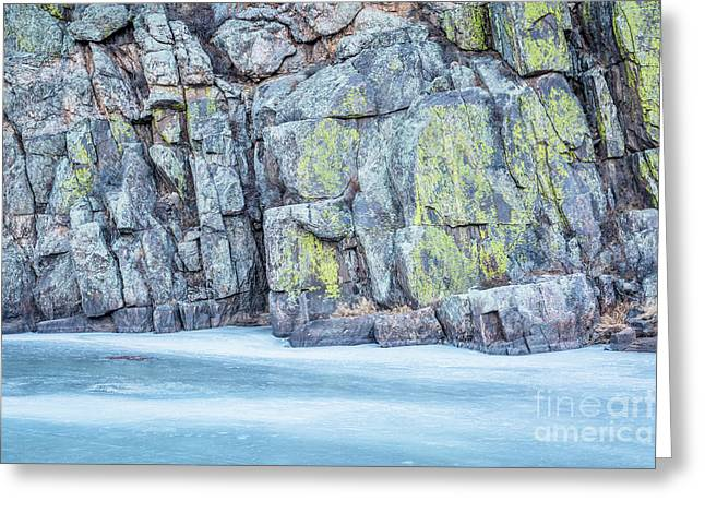 Frozen River And Rocky Cliff Greeting Card