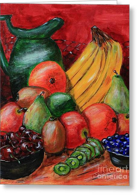Fruit And Pitcher Greeting Card by Melvin Turner