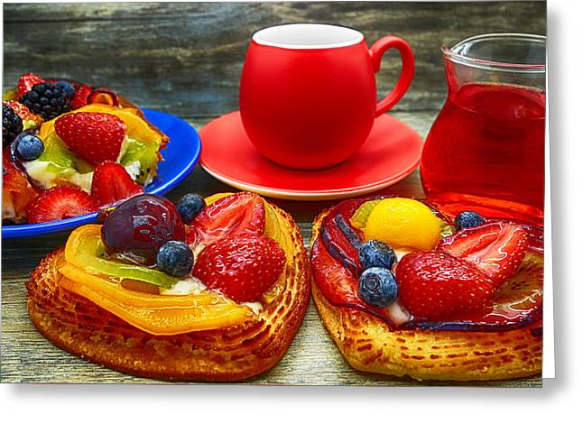 Fruit Desserts And Cup Of Coffee Greeting Card