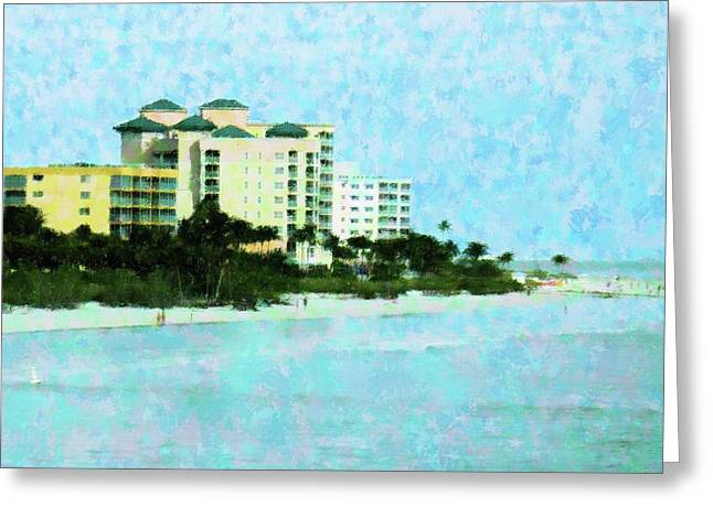 Ft Myers Beachfront Greeting Card by Florene Welebny
