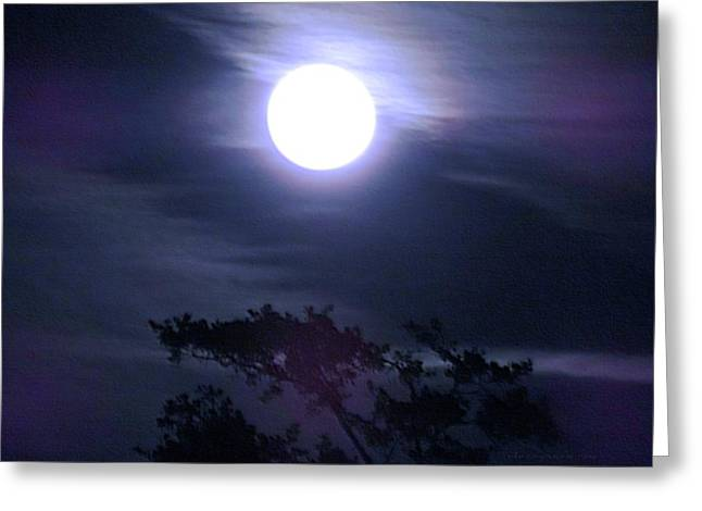 Full Moon Falling Greeting Card
