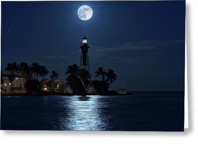 Greeting Card featuring the photograph Full Moon Over Hillsboro Lighthouse In Pompano Beach Florida by Justin Kelefas
