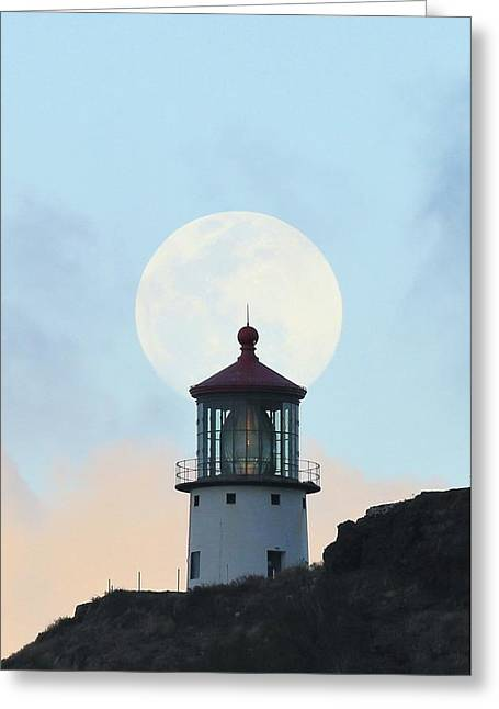 Full Moon Over Makapu'u Light Greeting Card