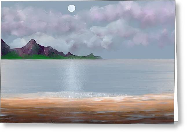 Full Moon Seascape Greeting Card