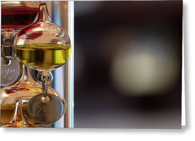 Greeting Card featuring the photograph Galileo Thermometer by Jeremy Lavender Photography