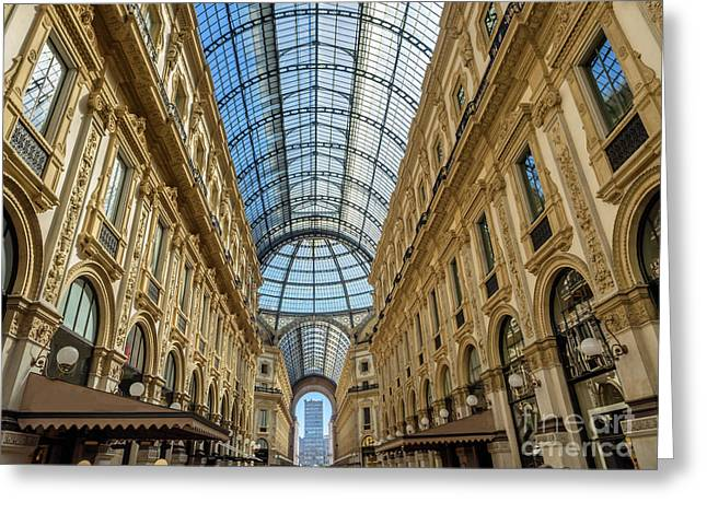Galleria Vittorio Emanuele II Shopping Art Mall In Milan Greeting Card by Frank Bach