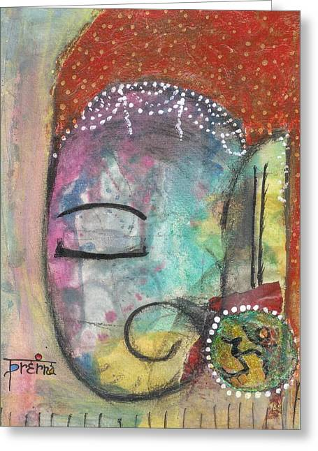 Greeting Card featuring the mixed media Ganesha by Prerna Poojara