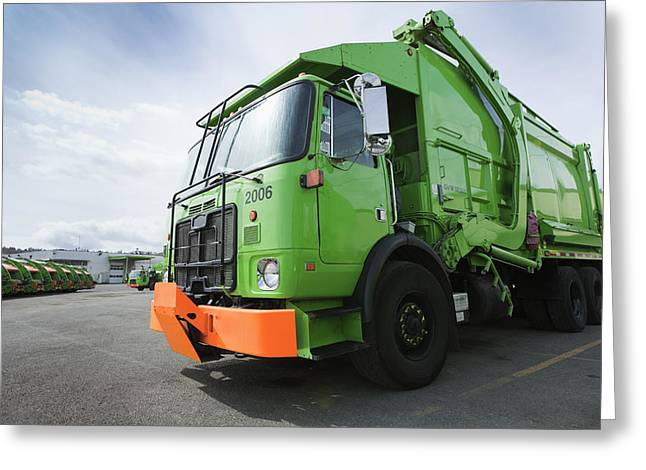Garbage Truck Parked In A Parking Lot Greeting Card by Don Mason