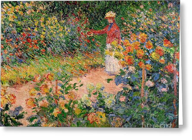 Woman Canvas Greeting Cards - Garden at Giverny Greeting Card by Claude Monet
