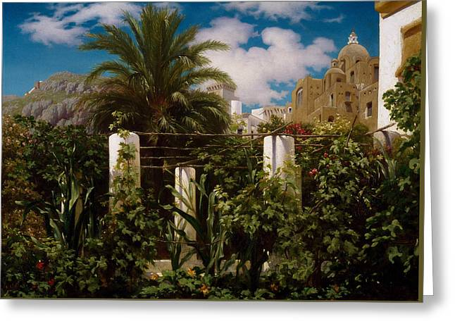 Garden Of An Inn, Capri Greeting Card by Frederic Leighton