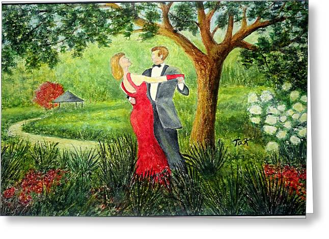 Greeting Card featuring the painting Garden Party by Thomas Kuchenbecker
