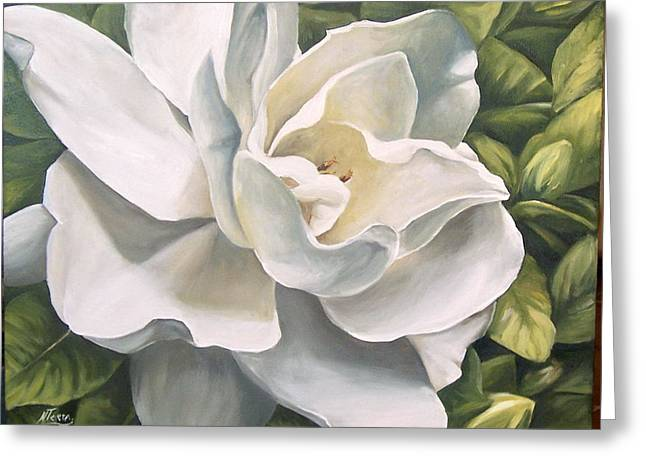 Greeting Card featuring the painting Gardenia by Natalia Tejera