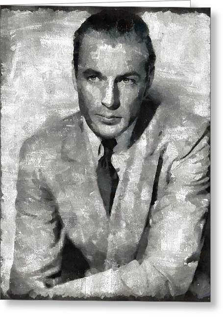 Gary Cooper Vintage Hollywood Star Greeting Card by Mary Bassett