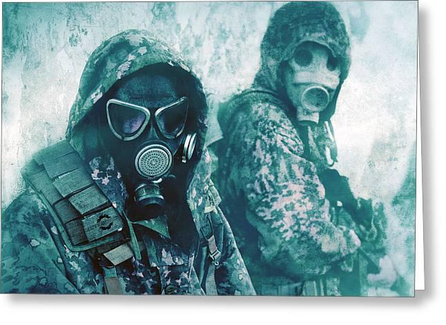 Gas Mask Greeting Card