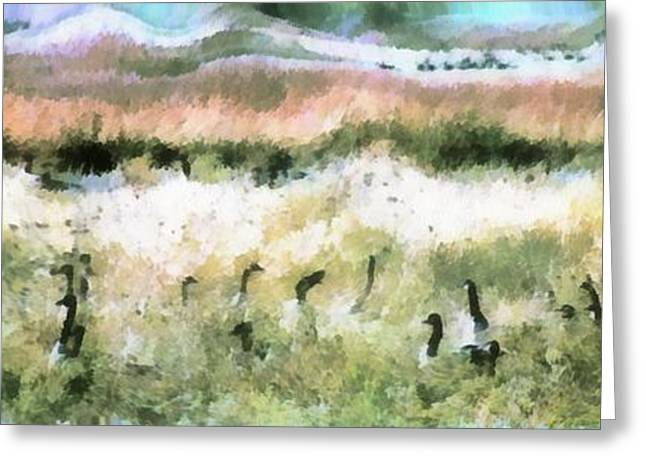 Geese In Grass Greeting Card
