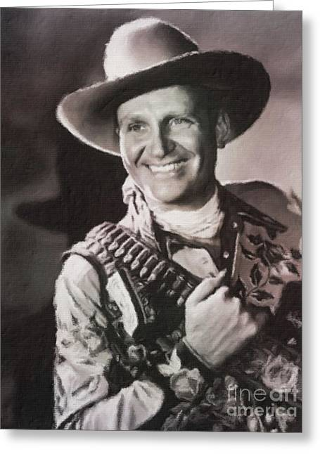 Gene Autry, Western Actor And Singer Greeting Card by Mary Bassett