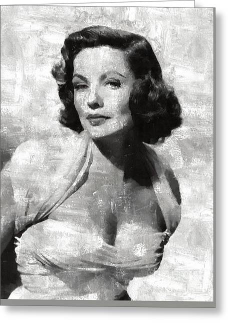 Gene Tierney Hollywood Actress Greeting Card by Mary Bassett