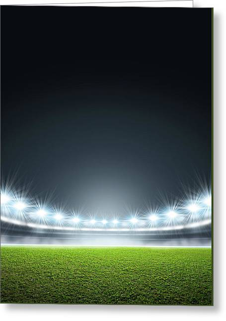 Generic Floodlit Stadium Greeting Card by Allan Swart