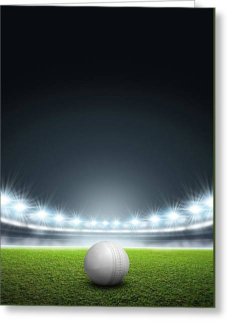 Generic Floodlit Stadium With Cricket Ball Greeting Card by Allan Swart