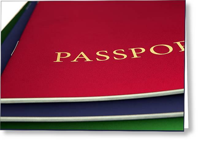 Generic Passport Stack  Greeting Card by Allan Swart