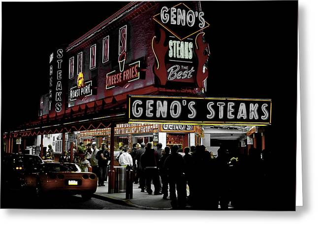 Geno's In Philly Greeting Card by Flim Law