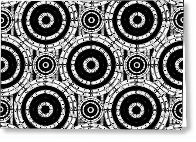 Geometric Black And White Greeting Card by Gaspar Avila