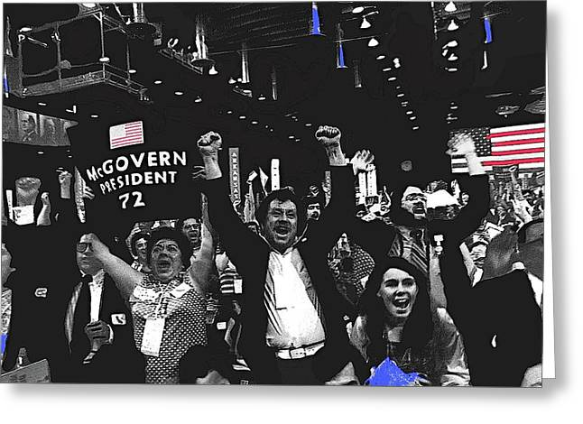 George Mcgovern Supporters Democratic Natl Convention Miami Beach Florida 1972 Color Added Greeting Card by David Lee Guss
