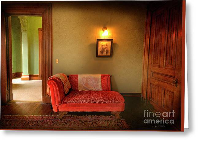 Greeting Card featuring the photograph George's Red Sofa by Craig J Satterlee