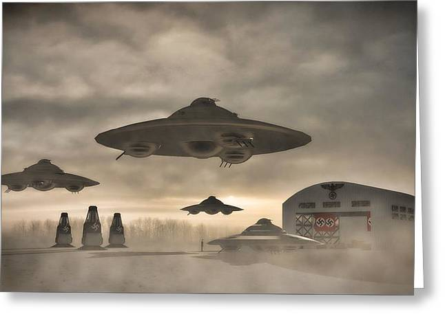 German Wwii Ufo By Raphael Terra Greeting Card by Raphael Terra