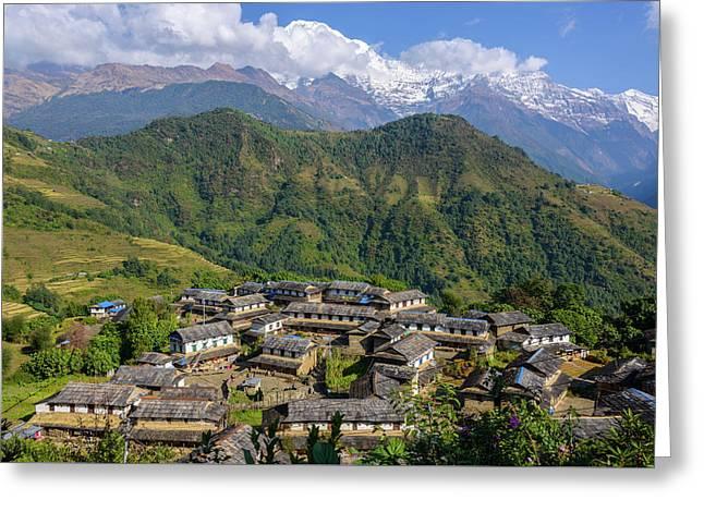 Ghandruk Village In The Annapurna Region Greeting Card
