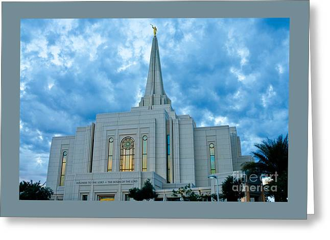 Gilbert Arizona Lds Temple Greeting Card by Nick Boren
