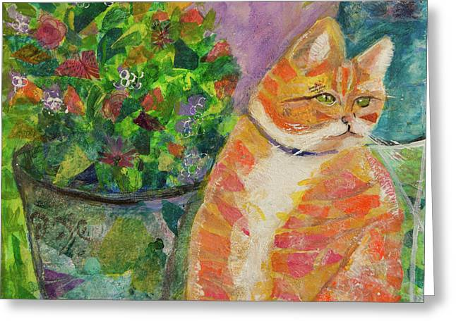 Ginger With Flowers Greeting Card