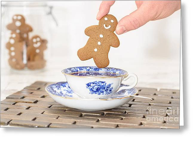 Gingerbread In Teacup Greeting Card by Amanda Elwell