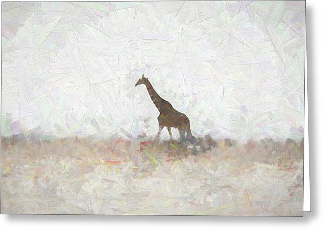 Greeting Card featuring the digital art Giraffe Abstract by Ernie Echols