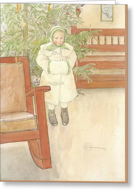 Girl And Rocking Chair Greeting Card by Carl Larsson