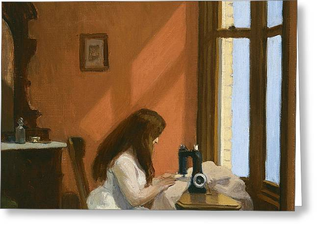 Girl At Sewing Machine Greeting Card by Edward Hopper