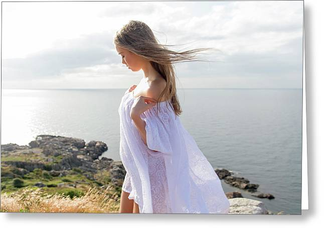 Girl In A White Dress By The Sea Greeting Card