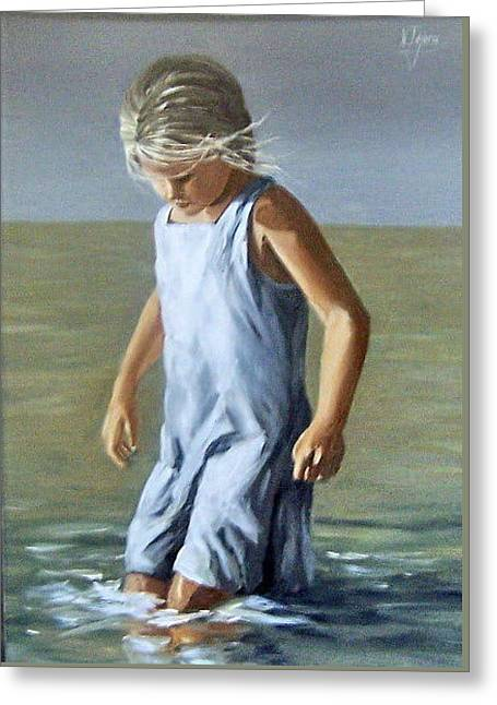 Greeting Card featuring the painting Girl by Natalia Tejera