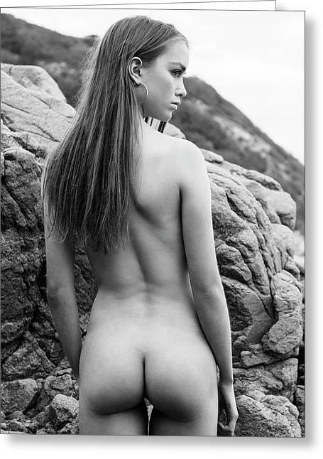 Girl On The Rocks Greeting Card
