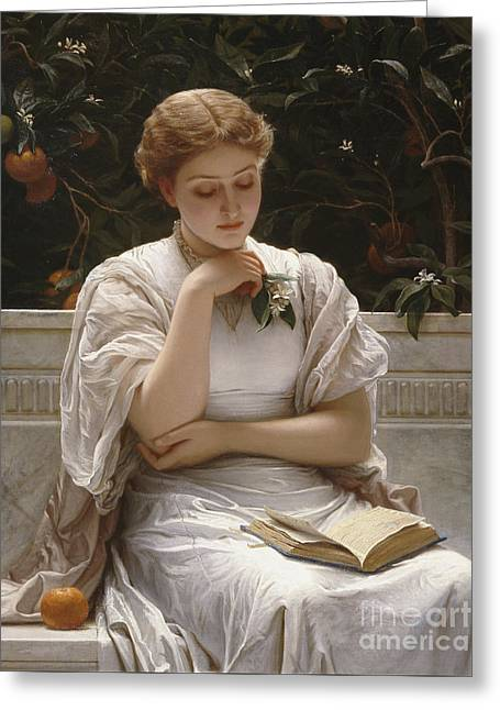 Girl Reading Greeting Card by Charles Edward Perugini