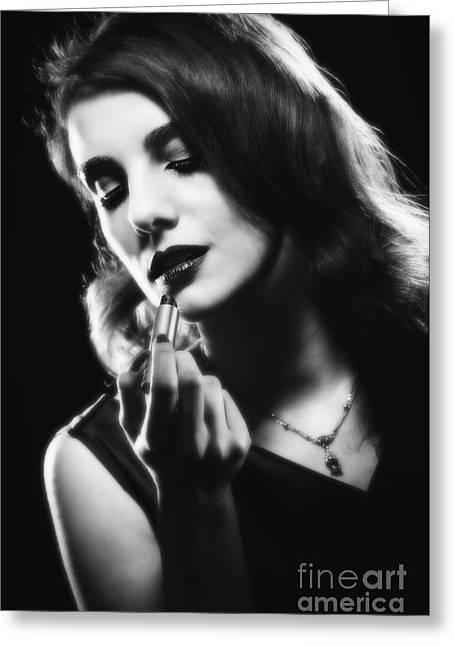 Glamorous Woman Applying Lipstick Greeting Card by Amanda Elwell