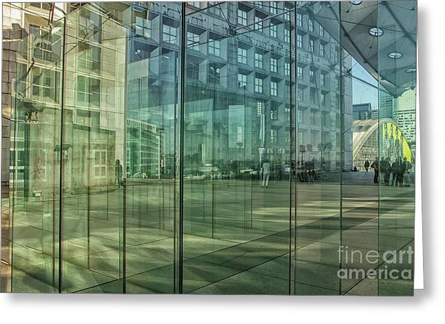 Greeting Card featuring the photograph Glass Panels At Le Grande Arche by Patricia Hofmeester